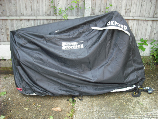 My bike covered by the top notch Oxford Stormex Motorbike Cover