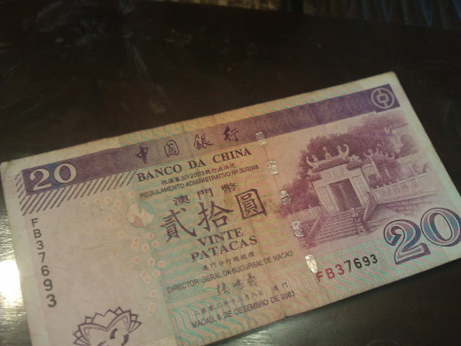 Macau Pataca- the official currency.  1USD = ~ 8 MOP