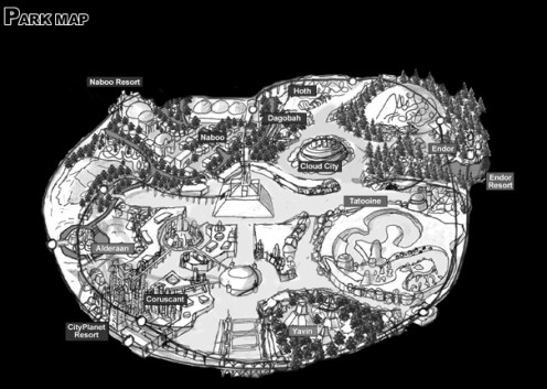 Theme park Layout Map from http://starwarspark.com/#