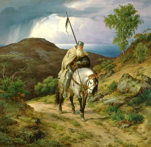 Painting of the Last Crusader coming home. Was the violence of the Crusades justified?