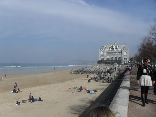 Beach at Hendaye with sea view restaurant