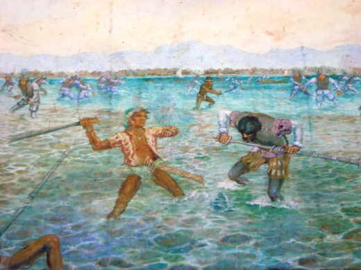 Painting portraying the Battle of Mactan in which native Filipino chieftain, Lapu Lapu, defeated world explorer, Ferdinand Magellan.