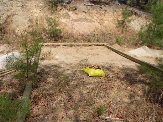 Trellis assembled on ground