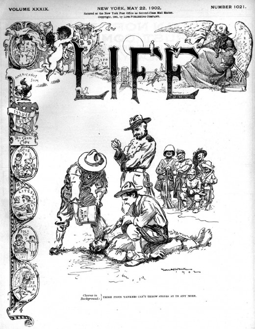 "Cover of Life magazine portraying American military's use of  water torture, or ""water cure"", during the Philippine American War. Brings to mind current issues of our government using ""water boarding"" in our current foreign conflicts."
