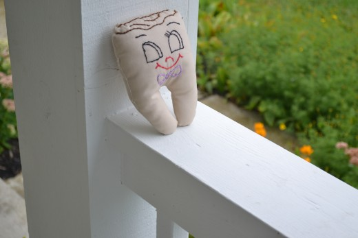 Because the tooth fairy didn't come, our tooth pillow is waiting on the front porch