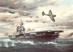 A painting of the USS Enterprise with a Japanese Mitsubishi Zero in the foreground.