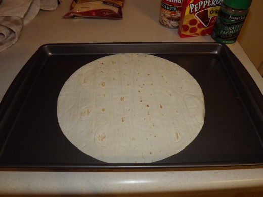 Tortilla ready for ingredients.