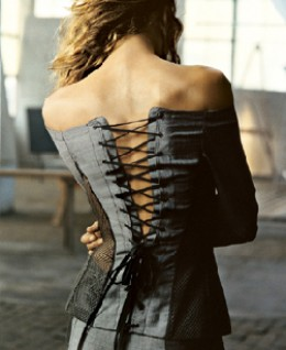 This beautiful corset is a worn as a top while giving support at the same time.