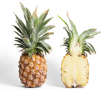 A ripe pineapple and its cross section