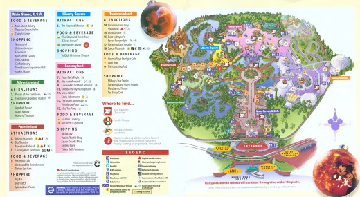 Map of Magic Kingdom for Mickey's party