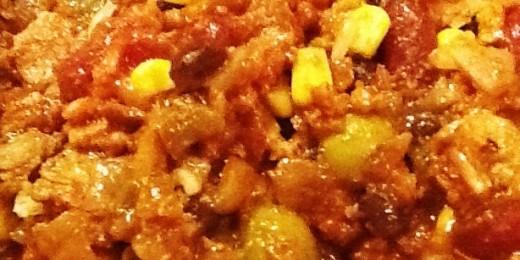 Vegetarian chili made with veggie crumble
