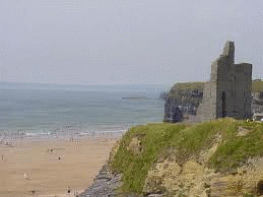 Nearby castle remains in the seaside town of Ballybunion