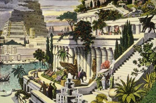 This painting depicts the much celebrated hanging gardens of Babylon.  They were one of the seven ancient wonders of the world.