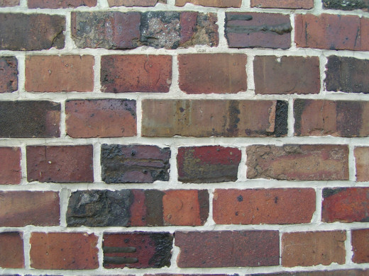 "The space between the bricks will be wider with more white ""mortar"" when they are painted on with a sponge.  Dip, Press and let dry.  What could be easier?"