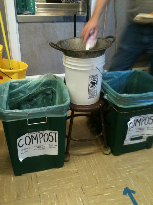 Clearly marked, color-coded compost bins.