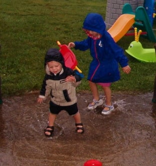 Splashing in the puddles