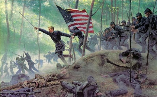 """Chamberlain's Charge, Little Round Top"" By Mort Kunstler"