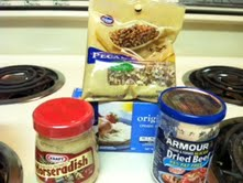 The ingredients to make a Dried Beef Cheeseball.