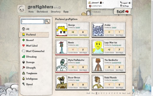A directory of characters screenshot.