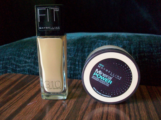 (Left) The Fit Me Liquid Foundation. (Right) The Mineral Power Powder Foundation.