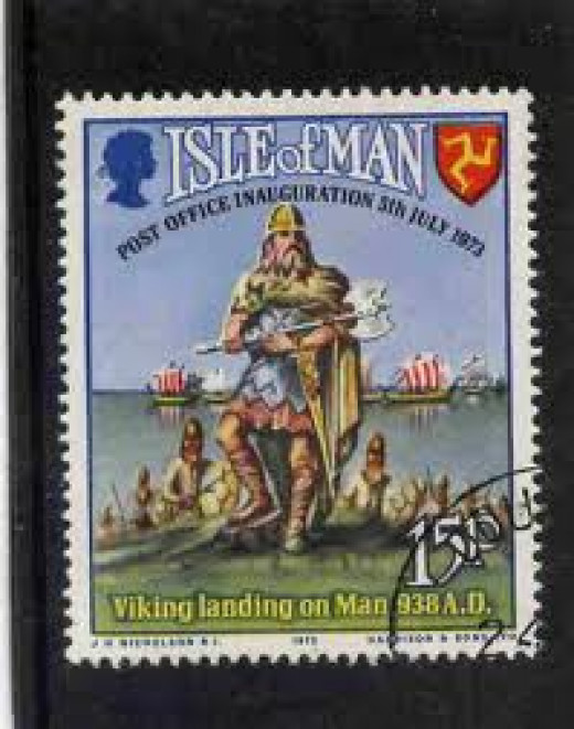 Isle of Man postage stamp with Viking motifs