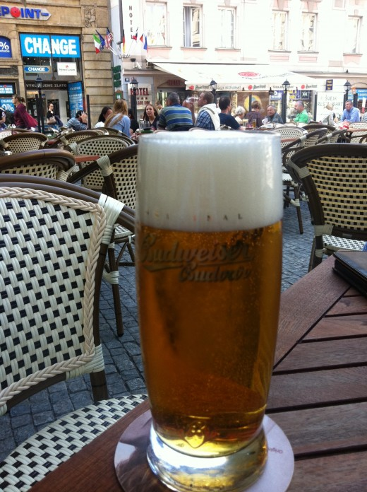 Budvar Budweiser pilsner beer - great location & great beer!