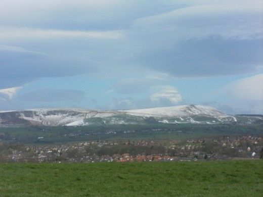 Pendle in snow from Burnley