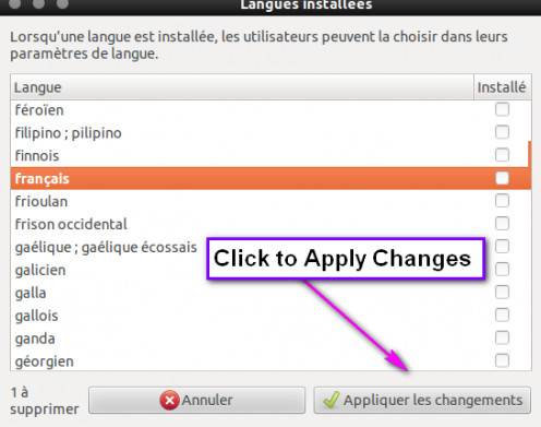 "Click ""Appliquer les changements"" to apply changes -aka, uninstall French."