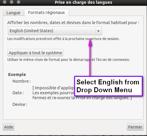 Find your version of English in the first drop down menu.