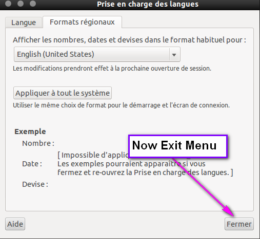 "Now select ""Fermer"" to exit the languages menu."