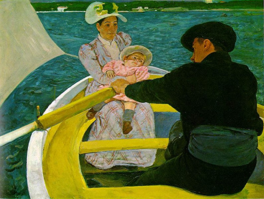 "Mary Cassatt painted ""The Boating Party"" in 1893 - 1894. This painting is in the public domain in the United States because it copyright has expired."