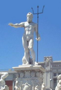 Statue of the Greek god, Poseidon (Roman god, Neptune), ruler of the sea.