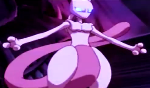 Mewtwo's eyes glowing and getting ready to attack.