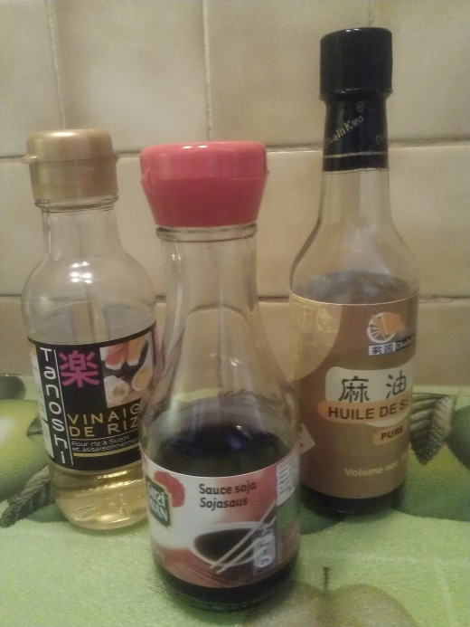 Rice White Vinegar, sesame oil and soy sauce