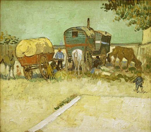 "Vincent van Gogh's ""Encampment of Gypsies with Caravans"" is in the public domain in the United States and those countries with a copyright term of life of the author plus 100 years or less."