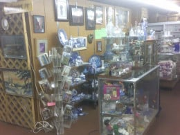 Merchandise displayed in a consignment store