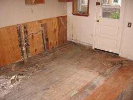 Water damage and termites forced this homeowner to replace the floor and subfloor because refinishing was no longer an option.