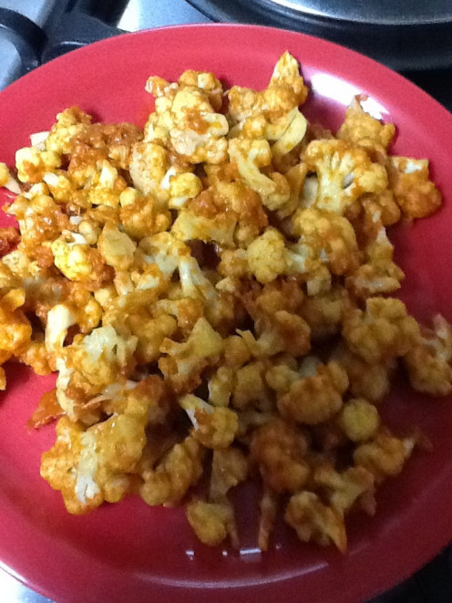 Marinated cauliflower cooked in microwave