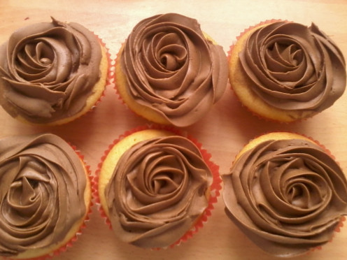 Home made vanilla cupcakes with chocolaty buttercream
