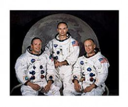 """Neil Armstrong and """"Buzz"""" Aldrin became the first humans to set foot on the moon. Michael Collins stayed aboard the command module."""