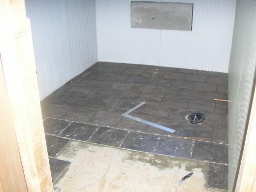 Tile floor in progress