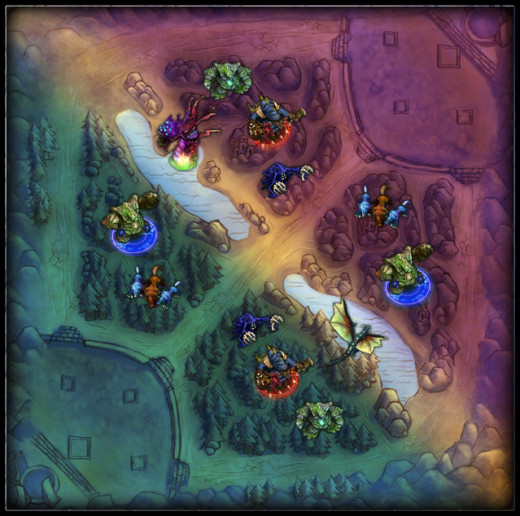 These are the two jungles for blue and purple team. As you can see, they are mirrored.