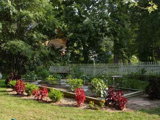 Back in Massachusetts, this garden with boxwood, peonies, and other perennials was planted in early September.