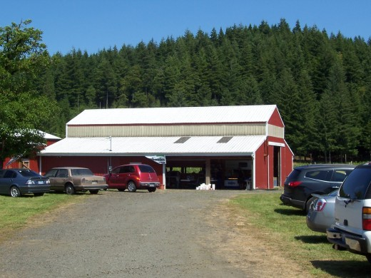 The big red barn-- pick up your buckets here.