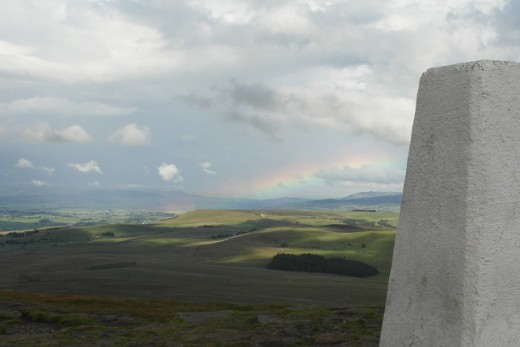 Pendle Beacon view with Rainbow