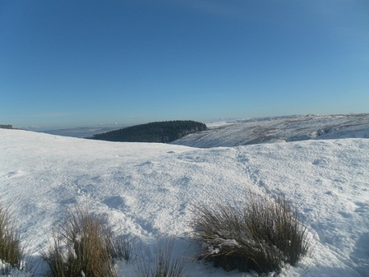 Pendle in snow, view south