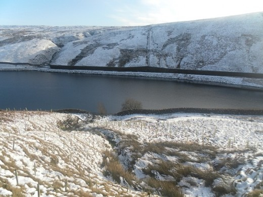 Upper Ogden Reservoir in snow