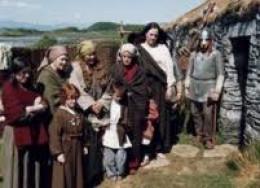 Re-enactment of Irish thralls landing on Orkney