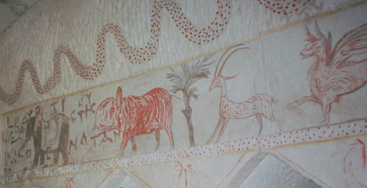Detail of the animal frieze in the Sidonian burial caves. The rhinoceros is labeled in Greek.