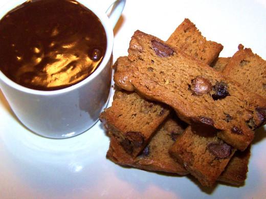 Peanut Butter Chocolate Chip Biscotti with Dark Chocolate Peanut Butter Ganache